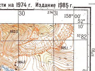 Reduced fragment of topographic map ru--gs--050k--n57-136-4--(1985)--N052-10_E157-45--N052-00_E158-00