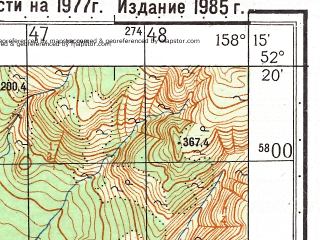 Reduced fragment of topographic map ru--gs--050k--n57-137-1--(1985)--N052-20_E158-00--N052-10_E158-15