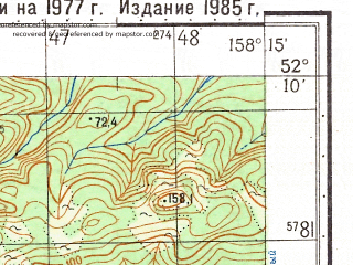 Reduced fragment of topographic map ru--gs--050k--n57-137-3--(1985)--N052-10_E158-00--N052-00_E158-15