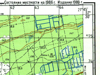 Reduced fragment of topographic map ru--gs--050k--o34-092-3--N057-30_E021-30--N057-20_E021-45; towns and cities Ventspils