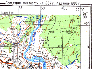 Reduced fragment of topographic map ru--gs--050k--o34-116-2--N057-00_E021-45--N056-50_E022-00; towns and cities Kuldiga