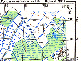Reduced fragment of topographic map ru--gs--050k--o34-120-4--N056-50_E023-45--N056-40_E024-00; towns and cities Olayne