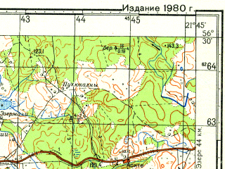 Reduced fragment of topographic map ru--gs--050k--o34-128-3--N056-30_E021-30--N056-20_E021-45; towns and cities Priyekule