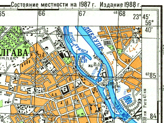 Reduced fragment of topographic map ru--gs--050k--o34-132-1--N056-40_E023-30--N056-30_E023-45; towns and cities Yelgava