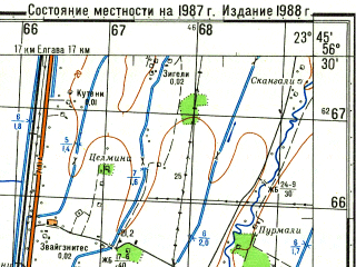 Reduced fragment of topographic map ru--gs--050k--o34-132-3--N056-30_E023-30--N056-20_E023-45; towns and cities Eleya