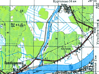 Reduced fragment of topographic map ru--gs--050k--o35-021-1--N059-40_E028-00--N059-30_E028-15; towns and cities Ust'-luga
