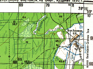 Reduced fragment of topographic map ru--gs--050k--o35-033-3--N059-10_E028-00--N059-00_E028-15; towns and cities Slantsy, Peleshi