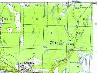 Reduced fragment of topographic map ru--gs--050k--o35-048-1--N059-00_E029-30--N058-50_E029-45; towns and cities Krasnyye Gory