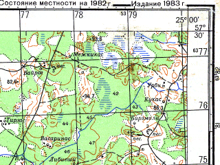 Reduced fragment of topographic map ru--gs--050k--o35-086-4--N057-30_E024-45--N057-20_E025-00; towns and cities Mazstraupe