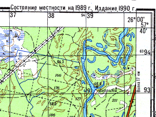 Reduced fragment of topographic map ru--gs--050k--o35-088-2--N057-40_E025-45--N057-30_E026-00; towns and cities Seda