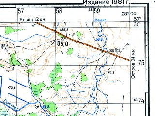 Reduced fragment of topographic map ru--gs--050k--o35-092-4--N057-30_E027-45--N057-20_E028-00; towns and cities Rodovoye