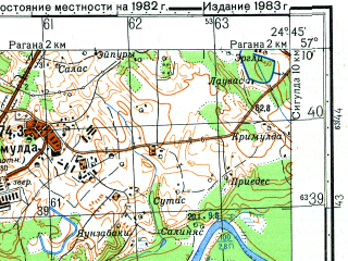 Reduced fragment of topographic map ru--gs--050k--o35-098-3--N057-10_E024-30--N057-00_E024-45; towns and cities Vangazhi