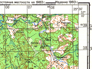 Reduced fragment of topographic map ru--gs--050k--o35-099-4--N057-10_E025-15--N057-00_E025-30; towns and cities Skujene
