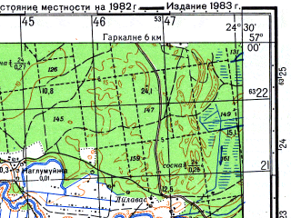 Reduced fragment of topographic map ru--gs--050k--o35-109-2--N057-00_E024-15--N056-50_E024-30; towns and cities Salaspils, Stopini