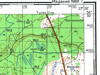 Reduced fragment of topographic map ru--gs--050k--o35-115-4--N056-50_E027-15--N056-40_E027-30; towns and cities Ruskalava