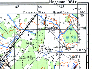 Reduced fragment of topographic map ru--gs--050k--o35-116-3--N056-50_E027-30--N056-40_E027-45; towns and cities Karsava, Stiglava