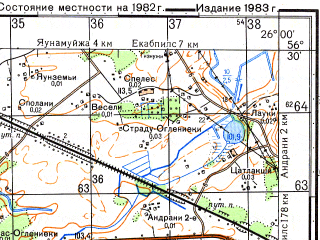 Reduced fragment of topographic map ru--gs--050k--o35-124-4--N056-30_E025-45--N056-20_E026-00; towns and cities Jekabpils