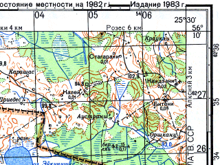 Reduced fragment of topographic map ru--gs--050k--o35-135-4--N056-10_E025-15--N056-00_E025-30; towns and cities Nereta