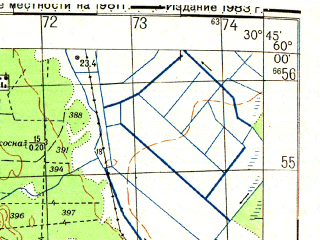 Reduced fragment of topographic map ru--gs--050k--o36-002-1--N060-00_E030-30--N059-50_E030-45