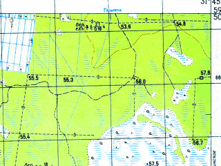 Reduced fragment of topographic map ru--gs--050k--o36-004-3--N059-50_E031-30--N059-40_E031-45; towns and cities Naziya