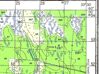 Reduced fragment of topographic map ru--gs--050k--o36-007-2--N060-00_E033-15--N059-50_E033-30