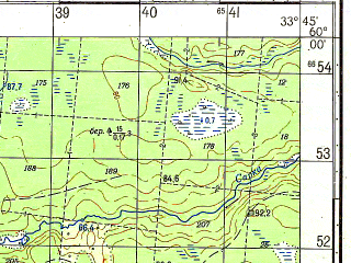 Reduced fragment of topographic map ru--gs--050k--o36-008-1--N060-00_E033-30--N059-50_E033-45