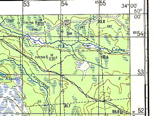 Reduced fragment of topographic map ru--gs--050k--o36-008-2--N060-00_E033-45--N059-50_E034-00