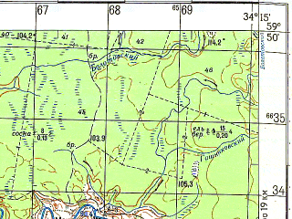 Reduced fragment of topographic map ru--gs--050k--o36-009-3--N059-50_E034-00--N059-40_E034-15