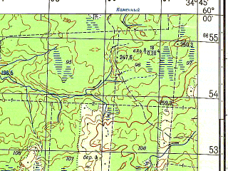 Reduced fragment of topographic map ru--gs--050k--o36-010-1--N060-00_E034-30--N059-50_E034-45