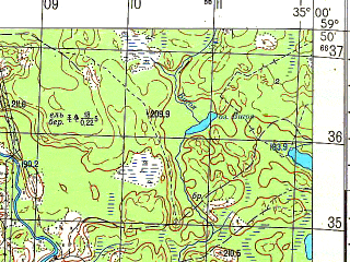 Reduced fragment of topographic map ru--gs--050k--o36-010-4--N059-50_E034-45--N059-40_E035-00; towns and cities Radogoshcha