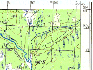 Reduced fragment of topographic map ru--gs--050k--o36-012-3--N059-50_E035-30--N059-40_E035-45