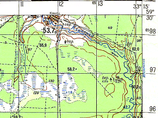 Reduced fragment of topographic map ru--gs--050k--o36-019-3--N059-30_E033-00--N059-20_E033-15; towns and cities Zaruchevye