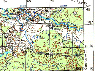 Reduced fragment of topographic map ru--gs--050k--o36-021-1--N059-40_E034-00--N059-30_E034-15; towns and cities Pikalevo
