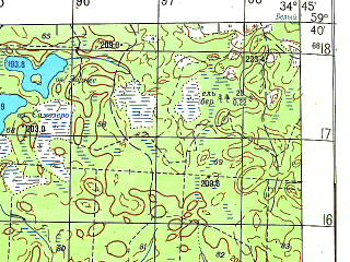 Reduced fragment of topographic map ru--gs--050k--o36-022-1--N059-40_E034-30--N059-30_E034-45; towns and cities Yefimovskiy