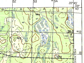 Reduced fragment of topographic map ru--gs--050k--o36-024-1--N059-40_E035-30--N059-30_E035-45