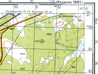 Reduced fragment of topographic map ru--gs--050k--o36-131-2--N056-40_E035-15--N056-30_E035-30; towns and cities Leushkino, Yemelyanovo