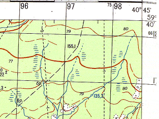 Reduced fragment of topographic map ru--gs--050k--o37-022-1--N059-40_E040-30--N059-30_E040-45; towns and cities Chekshino