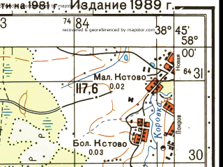 Reduced fragment of topographic map ru--gs--050k--o37-078-1--N058-00_E038-30--N057-50_E038-45; towns and cities Tikhmenevo