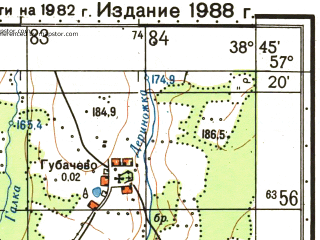 Reduced fragment of topographic map ru--gs--050k--o37-102-1--N057-20_E038-30--N057-10_E038-45; towns and cities Babayevo