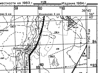 Reduced fragment of topographic map ru--gs--050k--o37-122-1--N056-40_E036-30--N056-30_E036-45; towns and cities Zavidovo