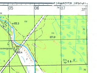 Reduced fragment of topographic map ru--gs--050k--o37-123-2--N056-40_E037-15--N056-30_E037-30; towns and cities Zaprudnya, Tempy