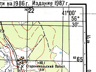 Reduced fragment of topographic map ru--gs--050k--o37-130-4--(1987)--N056-30_E040-45--N056-20_E041-00; towns and cities Kameshkovo, Tyntsy, Vakhromeyevo
