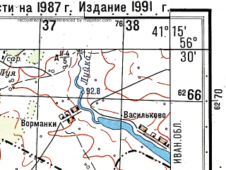 Reduced fragment of topographic map ru--gs--050k--o37-131-3--(1991)--N056-30_E041-00--N056-20_E041-15; towns and cities Bryzgalovo