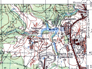 Reduced fragment of topographic map ru--gs--050k--o37-135-4--N056-10_E037-15--N056-00_E037-30; towns and cities Krasnaya Polyana, Belyy Rast, Lugovaya