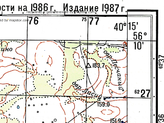 Reduced fragment of topographic map ru--gs--050k--o37-141-3--(1987)--N056-10_E040-00--N056-00_E040-15; towns and cities Kuz'mina