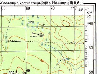 Reduced fragment of topographic map ru--gs--050k--o38-029-4--N059-10_E044-15--N059-00_E044-30; towns and cities Tokarevo