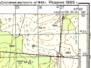 Reduced fragment of topographic map ru--gs--050k--o38-040-3--N058-50_E043-30--N058-40_E043-45; towns and cities Bobarykino