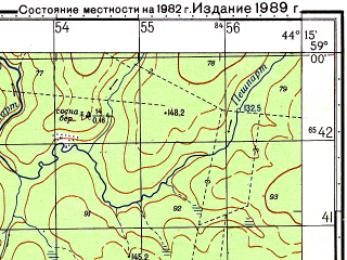 Reduced fragment of topographic map ru--gs--050k--o38-041-1--N059-00_E044-00--N058-50_E044-15; towns and cities Uzhuga