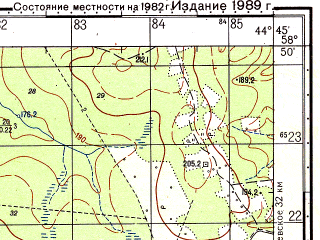 Reduced fragment of topographic map ru--gs--050k--o38-042-3--N058-50_E044-30--N058-40_E044-45; towns and cities Georgiyevskoye, Ilinskoye