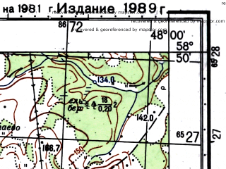 Reduced fragment of topographic map ru--gs--050k--o38-048-4--(1981)--N058-50_E047-45--N058-40_E048-00; towns and cities Darovskoy